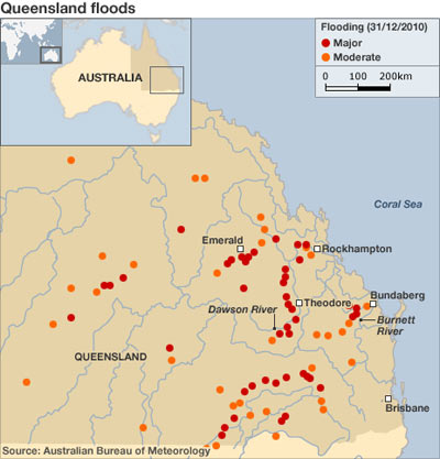 Queensland flooding map