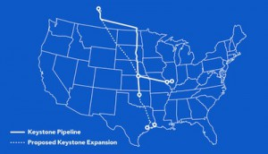 the solid line is the current existing keystone 1 pipeline the dotted line is the proposed keystone xl pipeline