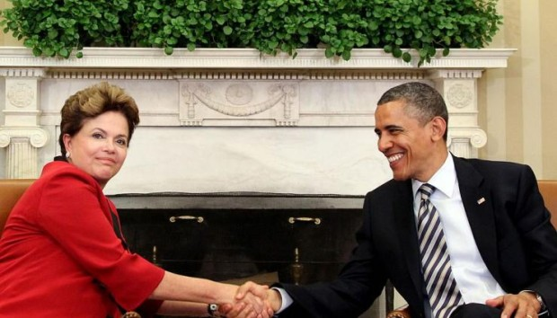 Brazilian President Dilma Rousseff with President Obama in 2012.