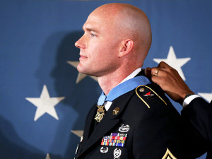 Staff Sgt. Ty Carter receiving the Medal of Honor