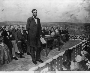 November 19, 1863: Abraham Lincoln, the 16th President of the United States of America, making his famous 'Gettysburg Address' speech at the dedication of the Gettysburg National Cemetery during the American Civil War. Original Artwork: Painting by Fletcher C Ransom (Library Of Congress/Getty Images)