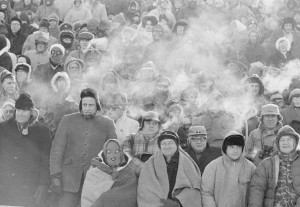 Fans watch the legendary Ice Bowl game between the Dallas Cowboys and Packers in Green Bay in 1967.