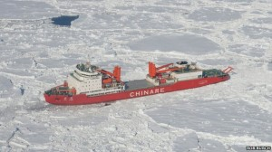 The Chinese vessel, Xue Long, has also become stuck in the ice