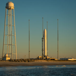 An Orbital Sciences Corporation Antares rocket is seen on launch Pad-0A during sunrise at NASA's Wallops Flight Facility on Wallops Island, Va., on Jan. 8, 2014 after its planned launch was delayed a day due to solar radiation concerns from a huge solar flare.