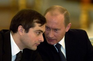 Russian President Vladimir Putin (right) and Vladislav Surkov.