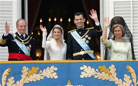 From left, King Juan Carlos, Princess Letizia Ortiz, Prince Felipe and his mother Queen Sofia.