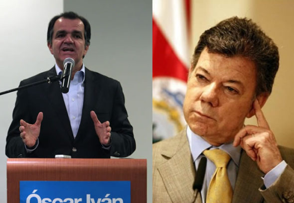 Presidential candidate Oscar Ivan Zuluaga (left) and incumbent President Juan Manuel Santos (right).