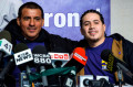 Window washers Juan Lopez and Juan Lizama take part in a news conference to recount their rescue from a malfunctioning scaffold on the side of One World Trade Center a day before in New York