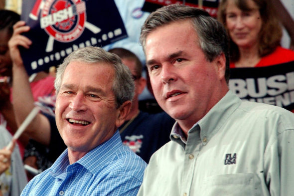 U.S. President George W. Bush with his brother Governor of Florida Jeb Bush