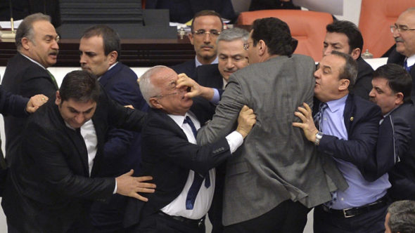 turkey-parliament-brawl-protest