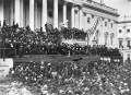 This photograph (top) of Lincoln delivering his second inaugural address is the only known photograph of the event. Lincoln stands in the center, with papers in his hand. John Wilkes Booth is visible in the photograph, in the top row right of center.