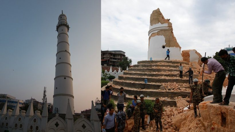 A side-by-side look at Kathmandu 's landmark Bhimsen tower, before and after it was damaged in Saturday's earthquake in Kathmandu, Nepal. (Photo: AP)