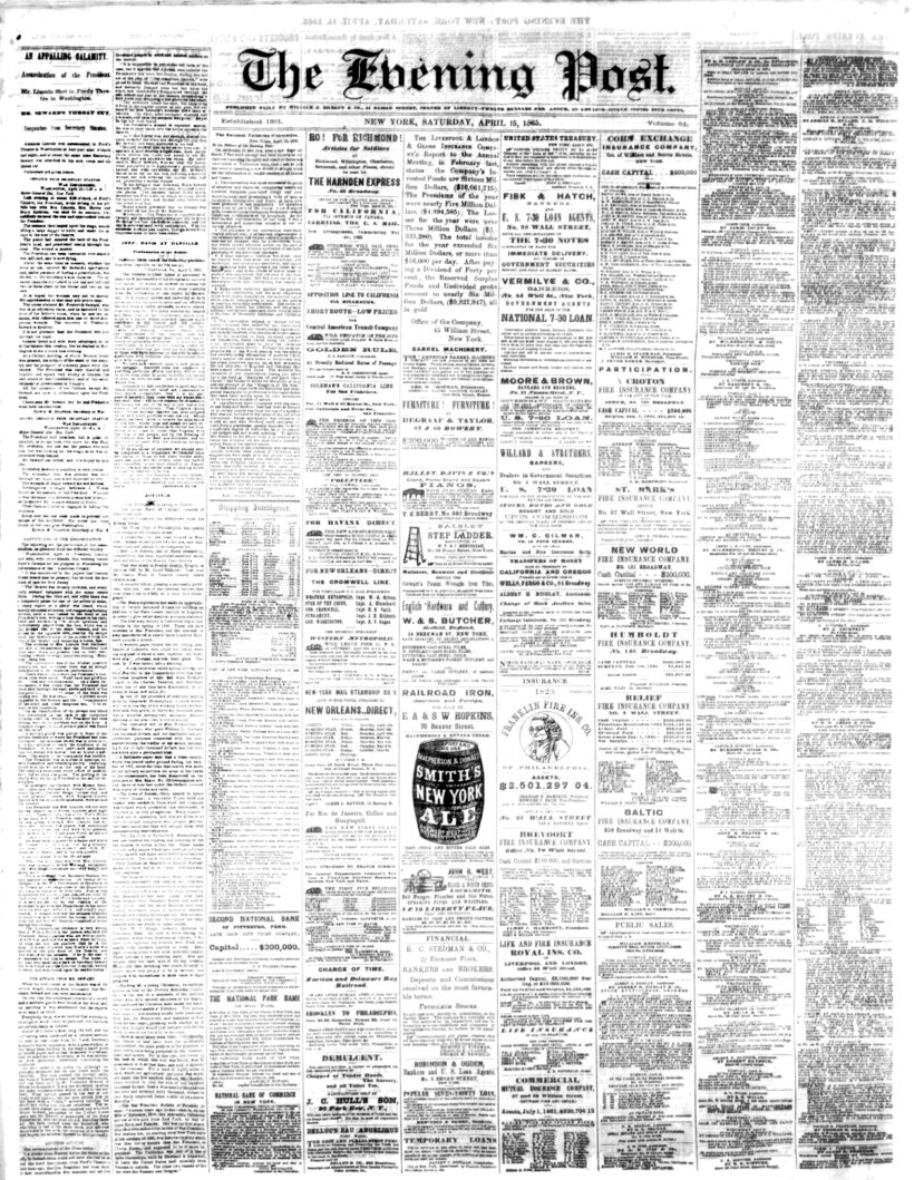"The New York Post — previously ""The Evening Post"" — Front page from April 15, 1865."