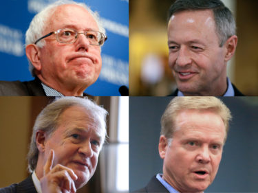 Bernie Sanders, former Maryland governor Martin O'Malley, former senator Jim Webb and former Rhode Island governor Lincoln Chafee. (AP)
