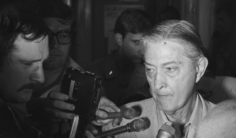 U.S. Ambassador to South Vietnam Graham Martin speaks to the press aboard the USS Blue Ridge after being evacuated from the U.S. Embassy in Saigon on April 30, 1975. (AP)