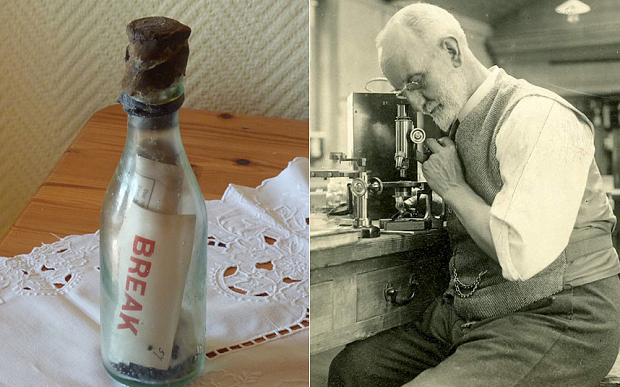 The oldest message in a bottle in the world, found by the Winkler family (left) and George Parker Bidder who released the bottle into the North Sea between 1904 and 1906 as part of his research.