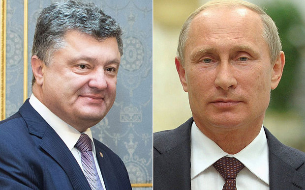 Russian President Vladimir Putin with his Ukrainian counterpart Petro Poroshenko