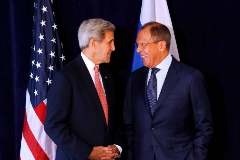 Secretary of State John Kerry, left, meets with Russian Foreign Minister Sergey Lavrov, Sunday, Sept. 27, 2015, in New York. (Photo: Jason DeCrow, AP)
