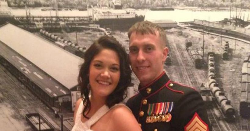 Sgt. Carson Holmquist with his wife.