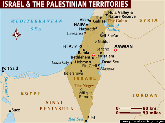 Map of Israel and the Palestinian Territories.