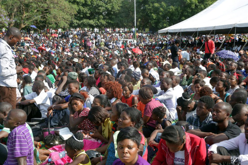 Thousands of Zambians rally to pray at the Show grounds in the capital city Lusaka on October 18, 2015.