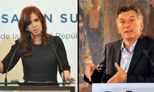 Argentina's Peronist President Kirchner (right) and opposition candidate, president-elect Mauricio Macri (right).