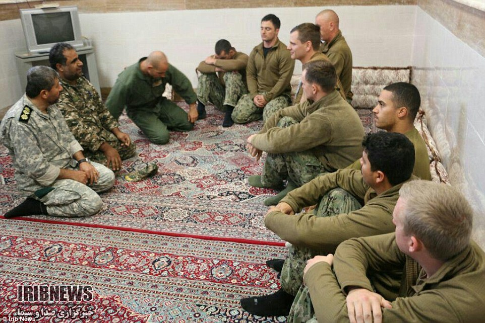 Photo of U.S. sailors being held by Iran.