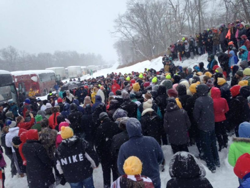 WBAY from Green Bay reported on a group of stranded marchers