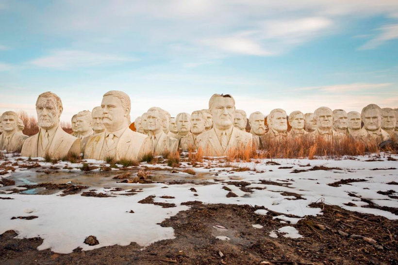 The busts of 43 presidents sit in a remote field in Croaker, Va. (Photo: Caters News Agency)