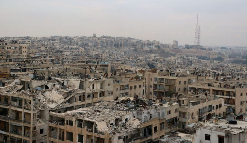 Damaged buildings in the rebel-held Ansari district of the northern Syrian city of Aleppo. AFP