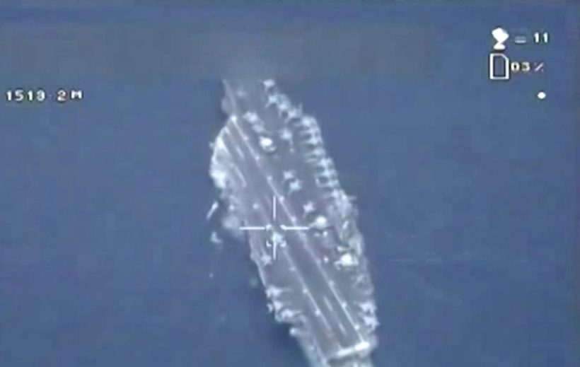 "This still image made from video broadcast on Iranian State television Friday, Jan. 29, 2016 shows what purports to be drone footage of a U.S. aircraft carrier. Iran flew a surveillance drone over a U.S. aircraft carrier and took ""precise"" photographs of it as part of an ongoing naval drill, state media reported Friday. The U.S. Navy said an unarmed Iranian drone flew near a French and American carrier earlier this month, but couldn't confirm it was the same incident.(Iranian State Television via AP) IRAN OUT"