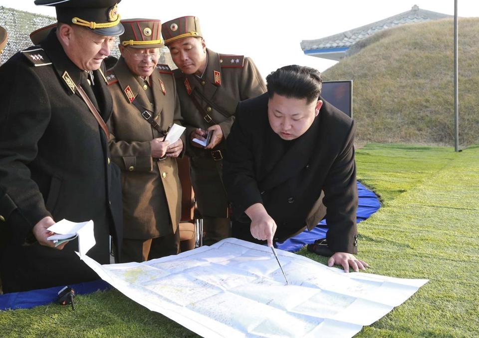In this undated photo, North Korean leader Kim Jong Un directed his top military leaders