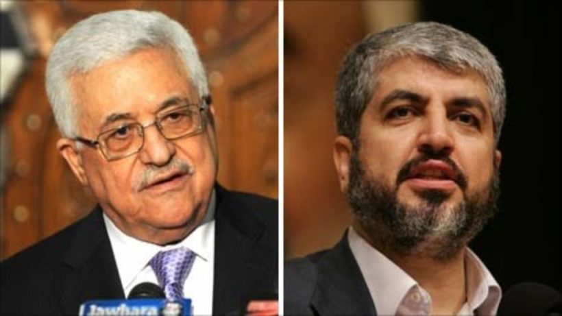 Palestinian Authority President Mahmoud Abbas (left) and Hamas leader Ismail Haniyeh