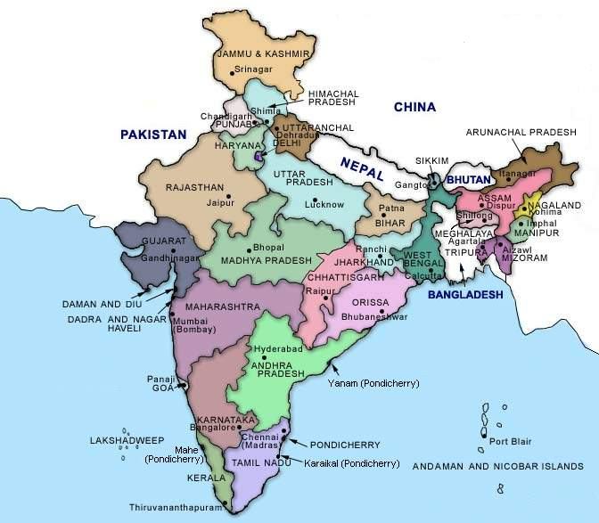Map of states of India.