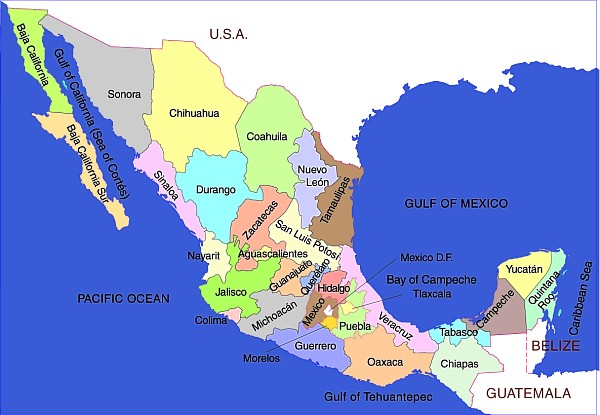 Map of states of Mexico