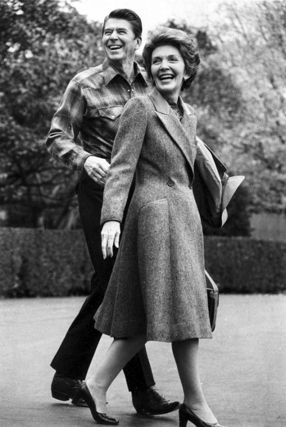 U.S President Ronald Reagan and first lady Nancy Reagan leave the White House en route to Bethesda Naval Hospital for the President's physical exam, October 29, 1981.
