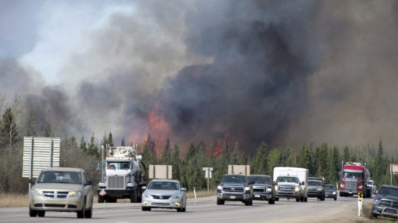 Residents evacuate ahead of wildfire.