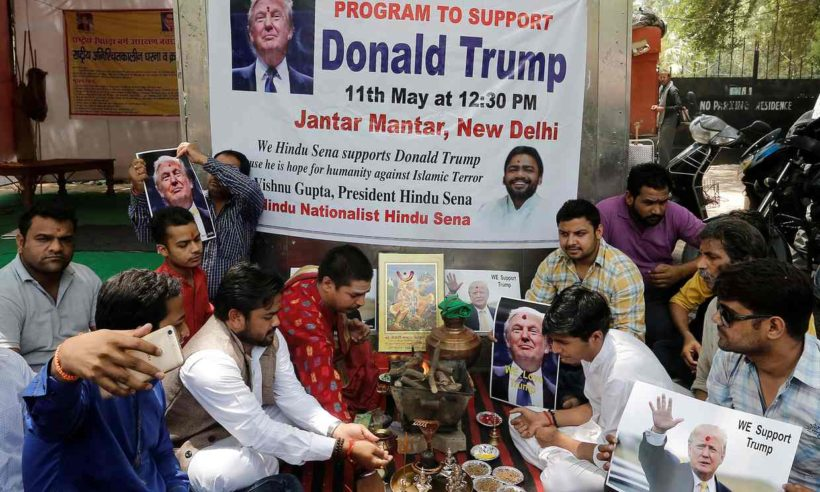 Activists of Hindu Sena perform a special prayer to ensure a victory of Donald Trump in the upcoming U.S. presidential elections, in New Delhi on Wednesday, May 11.