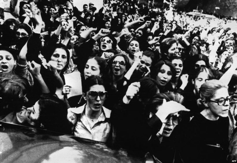 Hundreds of Iranian woman demonstrate in front of presidential office against the clergy order for all Iranian female employees of government offices to put on veils at work, in Tehran, July 5, 1980.