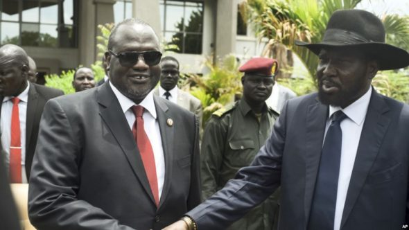 Undated photo of South Sudanese president Salva Kiir, right, with former vice-president Riek Machar (VOA)