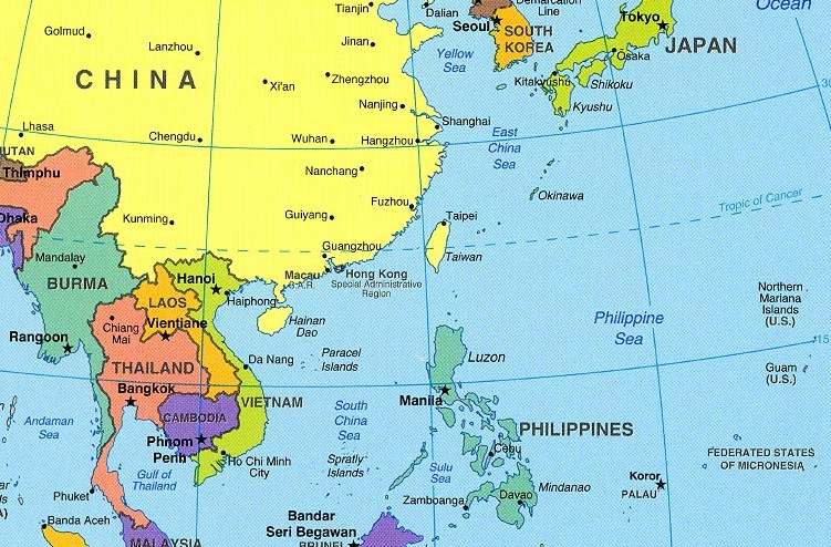 Philippines President Says Hell Break Up With US - Simple map of eastern us