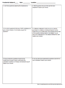 2016 presidential debate worksheet