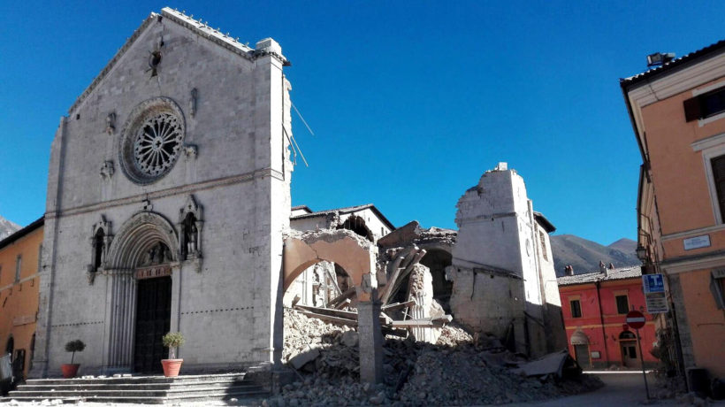 The facade remains standing on the ruined St. Benedict Basilica in Norcia after a magnitude 6.6 earthquake struck central Italy on Sunday morning. (Matteo Guidelli / ANSA)