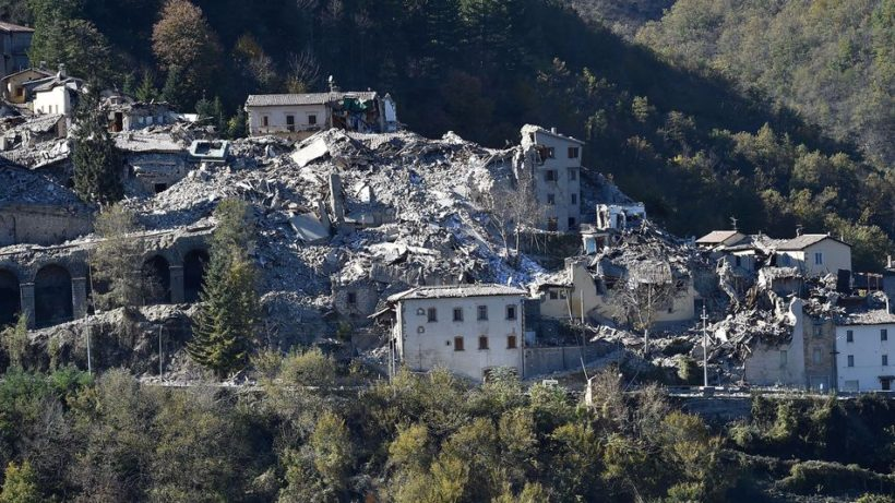Damaged buildings in Arquata del Tronto following a massive earthquake on Oct. 30, 2016.