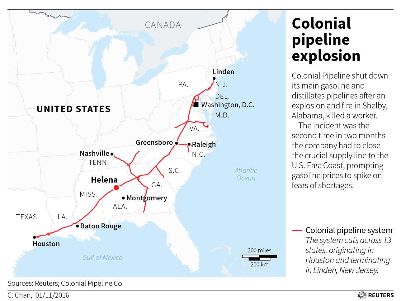 Map by Reuters and Colonial Pipeline