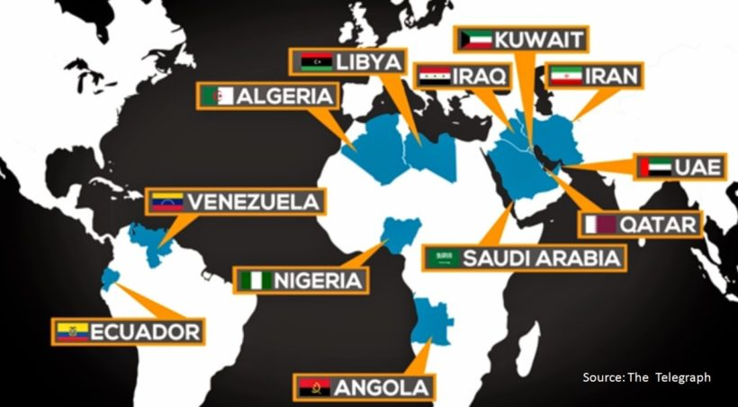 The Organization of the Petroleum Exporting Countries (OPEC) was created at the Baghdad Conference in September, 1960, by Iran, Iraq, Kuwait, Saudi Arabia and Venezuela. OPEC is now a group of thirteen countries located in the Middle East, Africa and South America. [Note: Gabon is not identified on this map. Gabon terminated its membership in January 1995. However, it rejoined the Organization in July 2016.]
