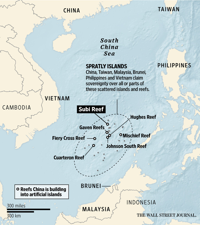 2015 Wall Street Journal map depicting the area in the South China Sea where China has built artificial islands