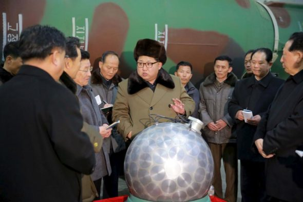 North Korean leader Kim Jong Un meets nuclear scientists and technicians in this undated photo released by North Korea's Korean Central News Agency in Pyongyang on March 9, 2016.