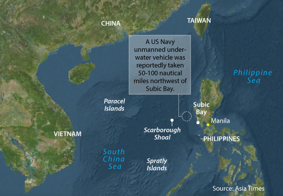 Navy Seizes American Underwater Drone In South China Sea - Earth map us china