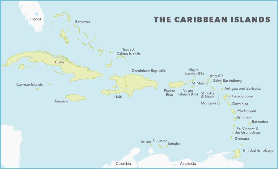 Caribbeanislandsmap - Caribbean islands map